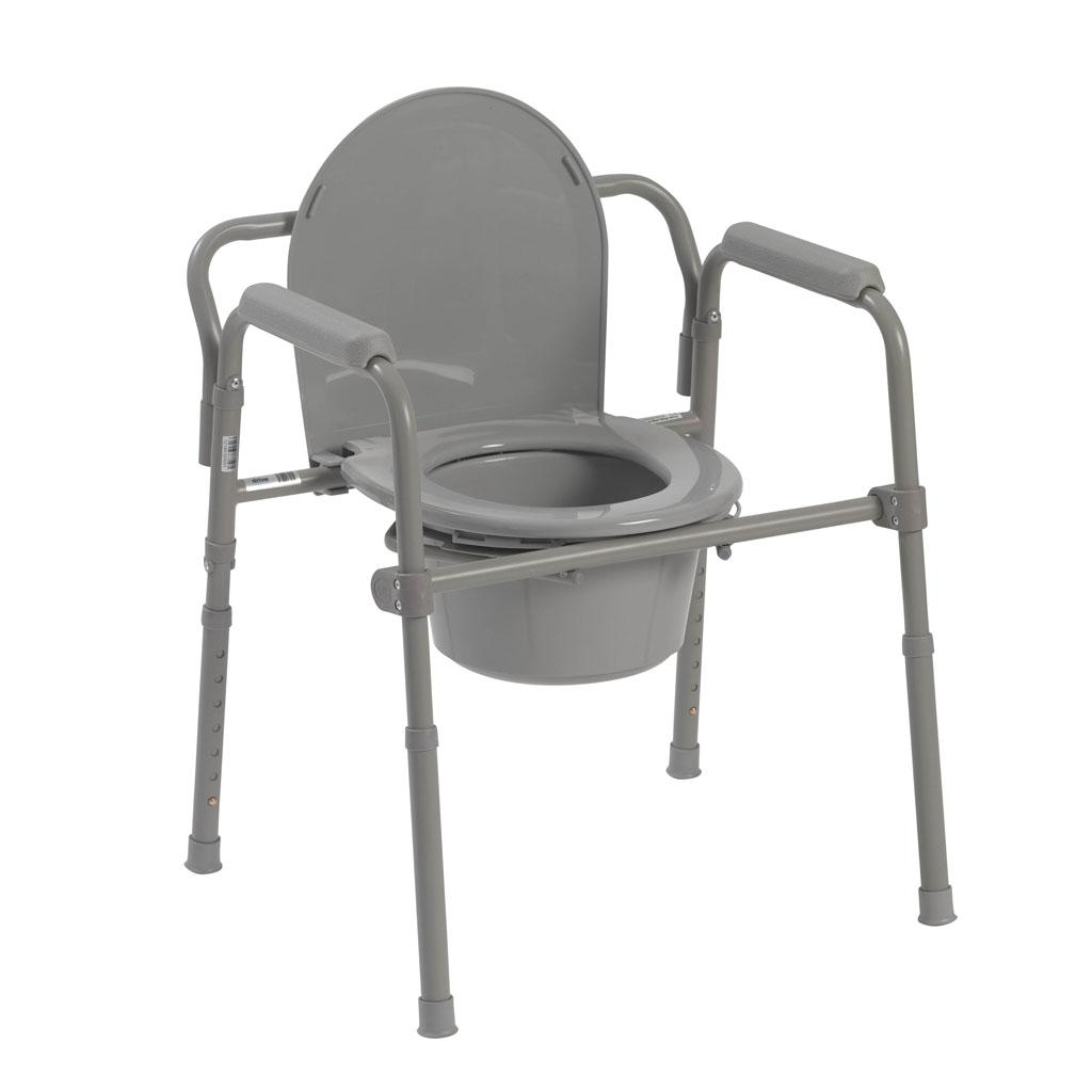 Drive Medical Folding Steel Bedside Commode, Grey