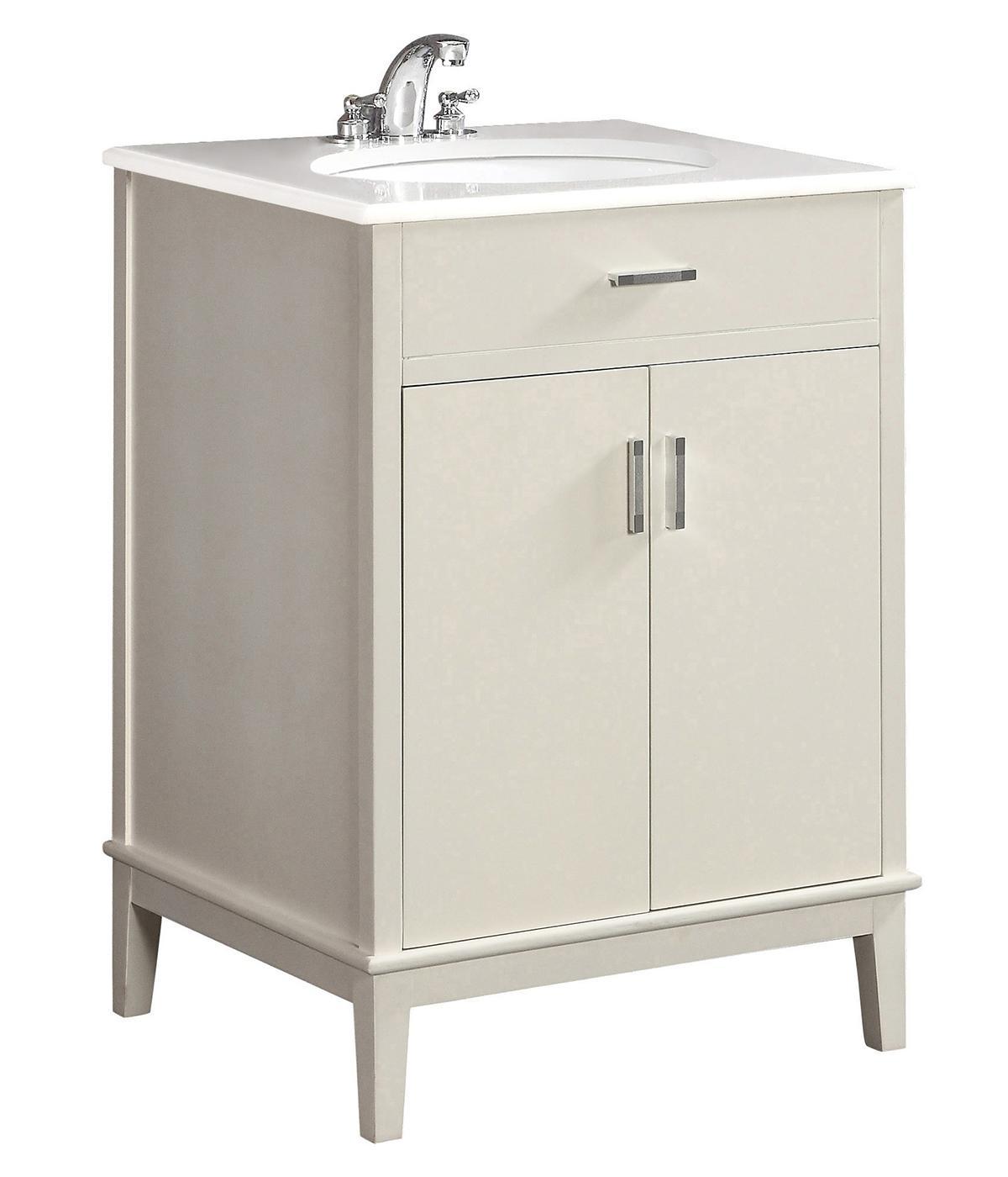 Urban loft 24 bath vanity with quartz marble top for Bathroom cabinets urban ladder