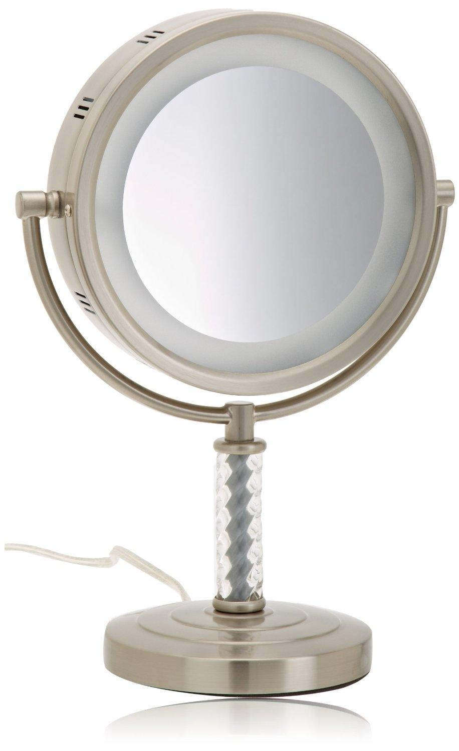 jerdon hl856mnc 8 inch halo lighted vanity mirror with 6x magnification nickel. Black Bedroom Furniture Sets. Home Design Ideas