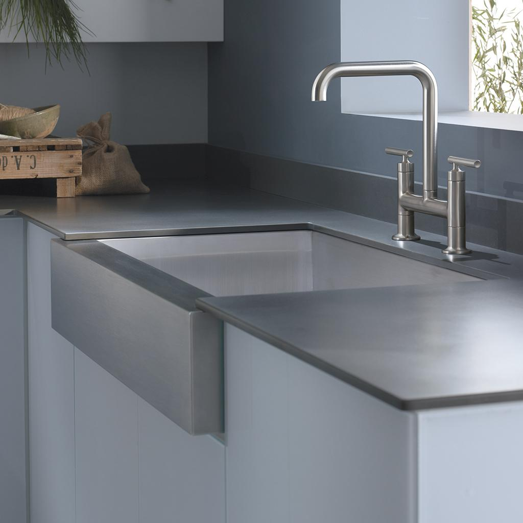 Kohler stainless steel farmhouse sink - Sink With Shortened Apron Front For 30 Inch Cabinet Single Bowl