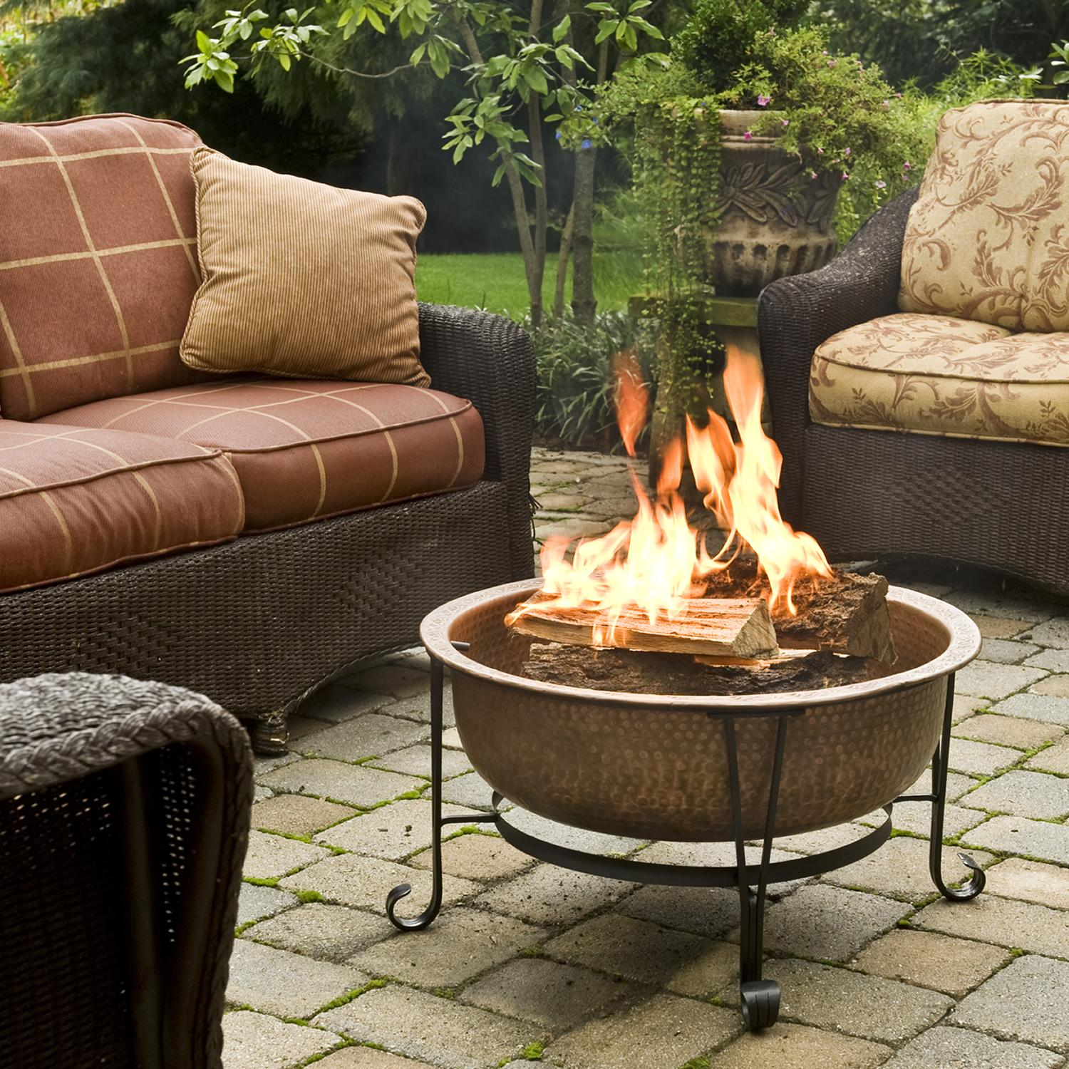 Cobraco Copper Vintage Fire Pit In Use