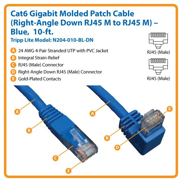 Amazon Com Tripp Lite Cat6 Gigabit Molded Patch Cable