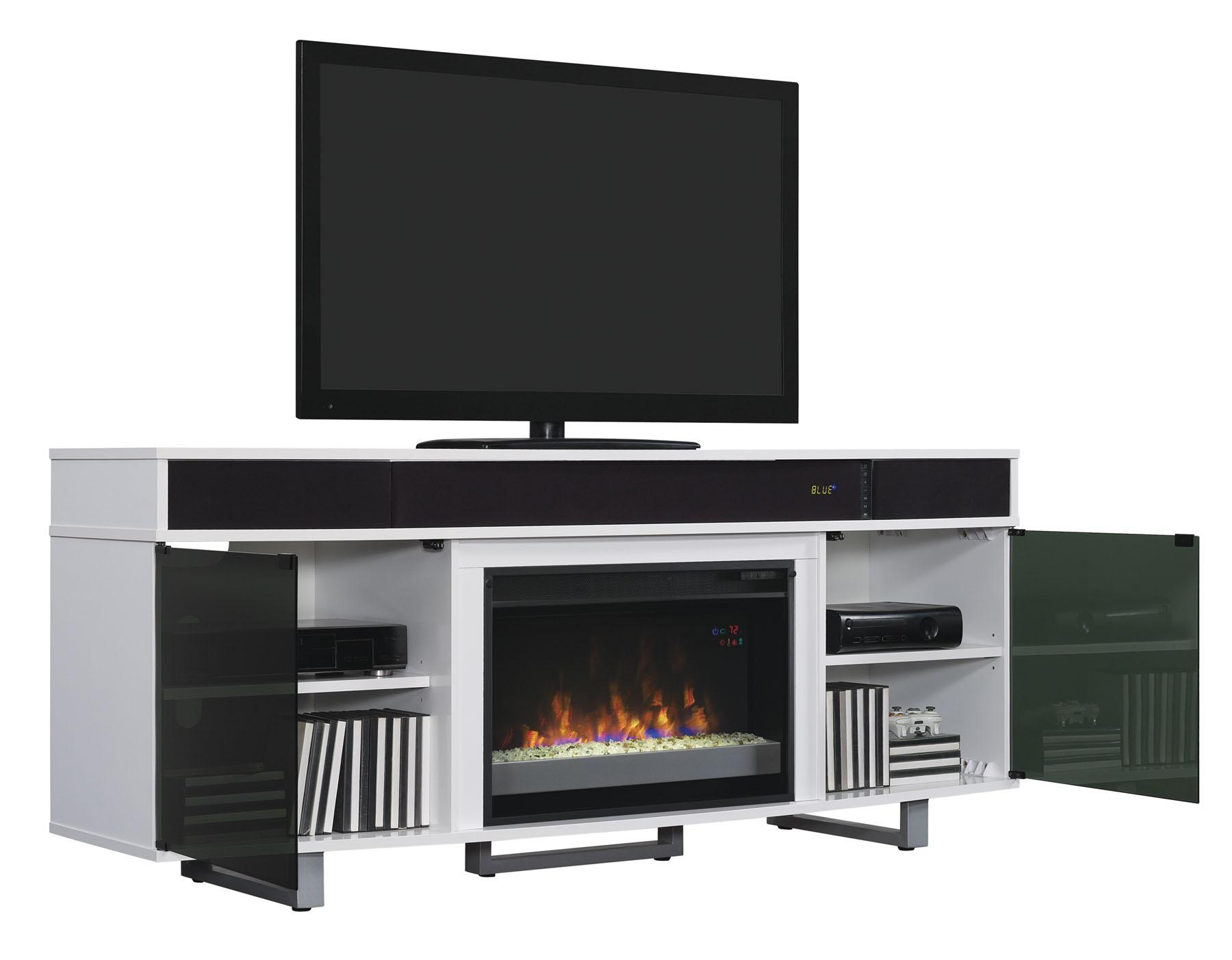 Classicflame 26mms9626 Nw145 Enterprise Tv Stand With Speakers For Tvs Up To 80