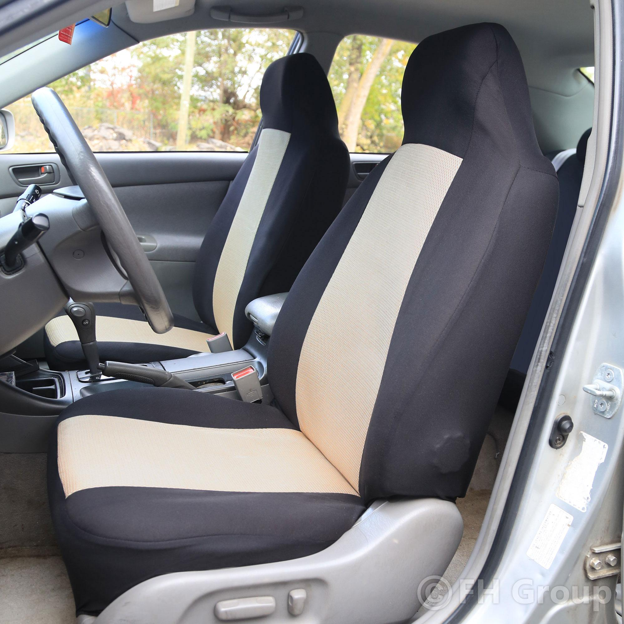 fh fb102112 classic cloth car seat covers beige black color automotive. Black Bedroom Furniture Sets. Home Design Ideas