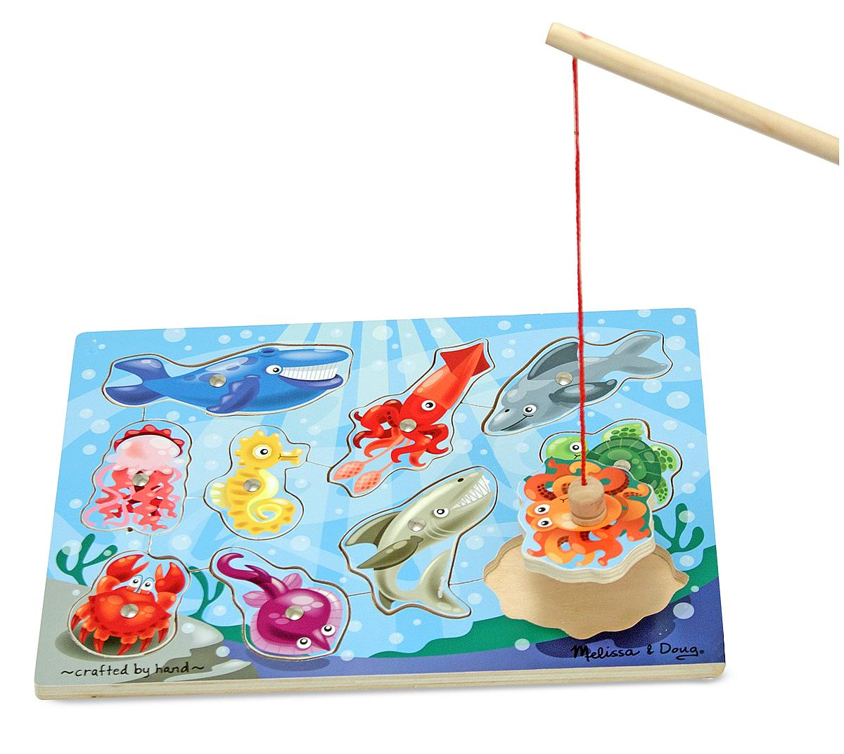 Melissa doug deluxe 10 piece magnetic for Fishing fishing games