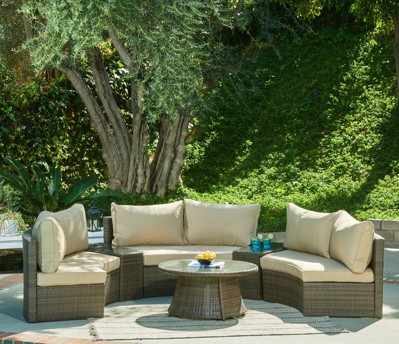 Manhattan Comfort Pearl Semi Circle Outdoor Patio Sofa Set Furniture Decor