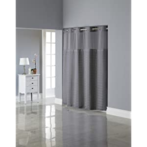 Grey Faux Suede Curtains Hookless Shower Curtai