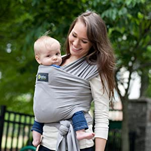 Boba Baby Wrap in Grey, Gray Stretchy Wrap