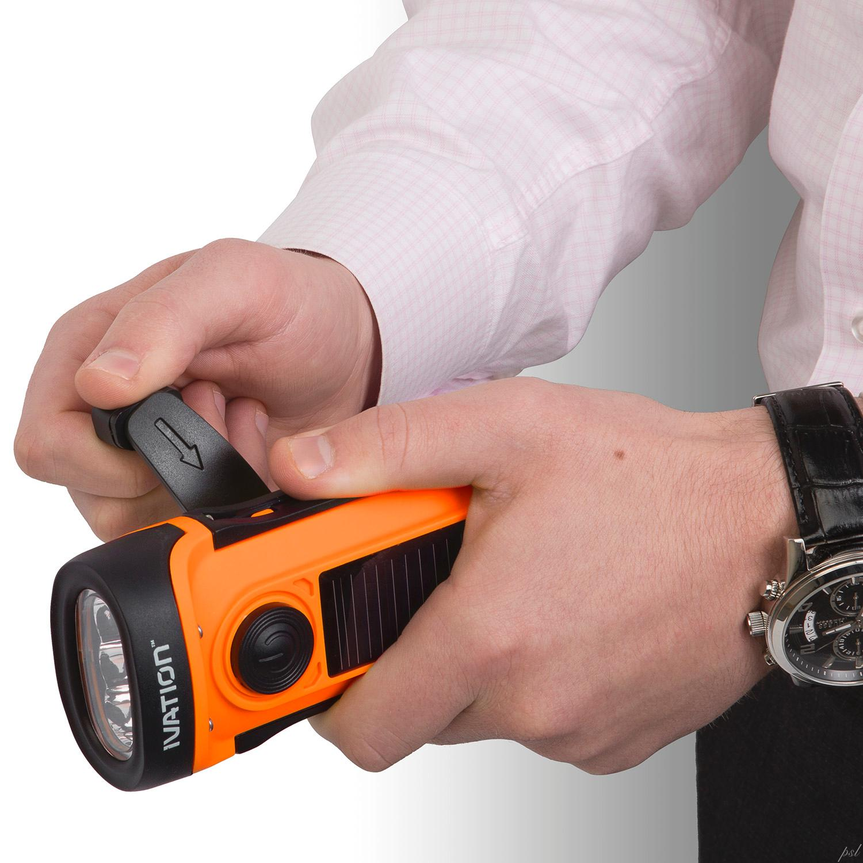 Ivation Waterproof Hand Crank & Solar Powered 3 LED Flashlight