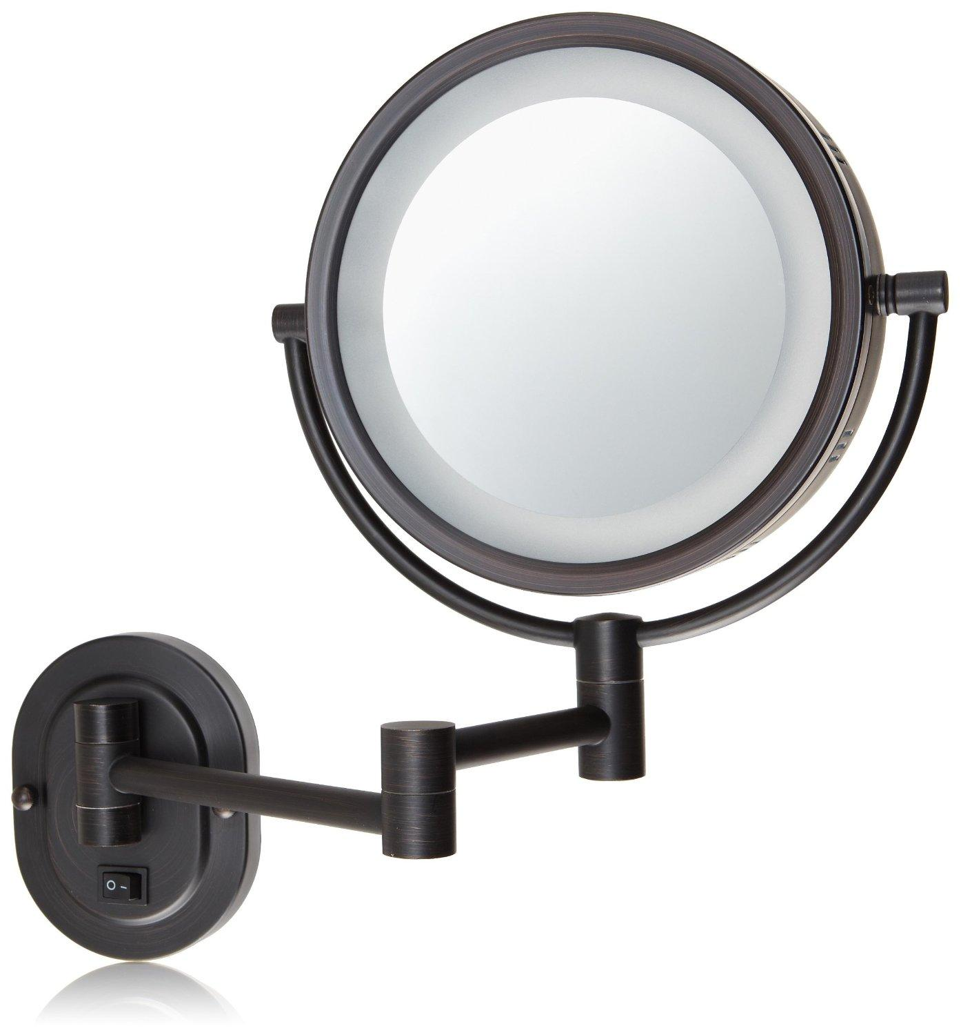 jerdon hl65bzd 8 inch lighted wall mount direct wire makeup mirror. Black Bedroom Furniture Sets. Home Design Ideas