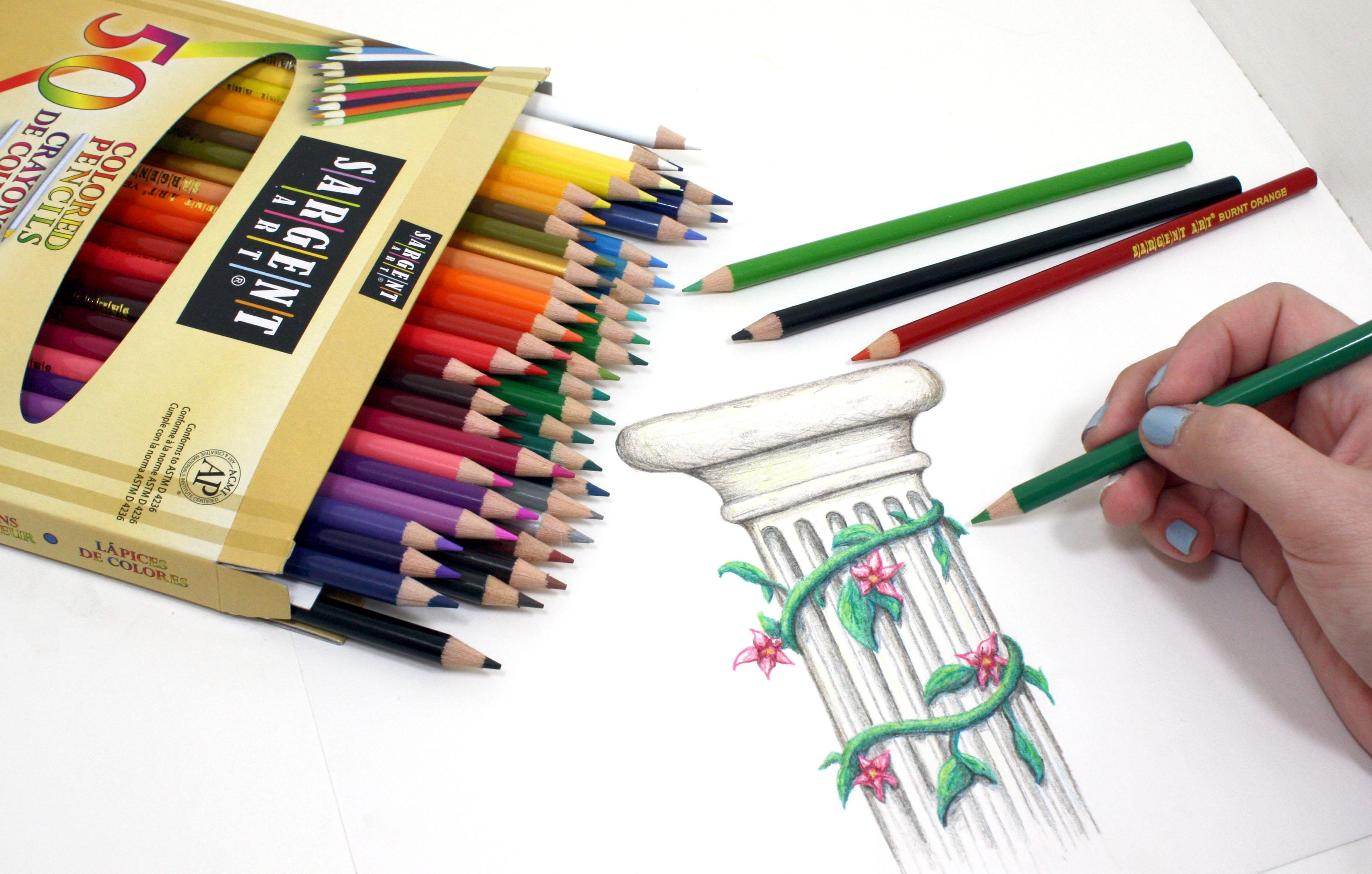 sargent art 22 7251 colored pencils pack of 50 assorted colors accessory arts. Black Bedroom Furniture Sets. Home Design Ideas