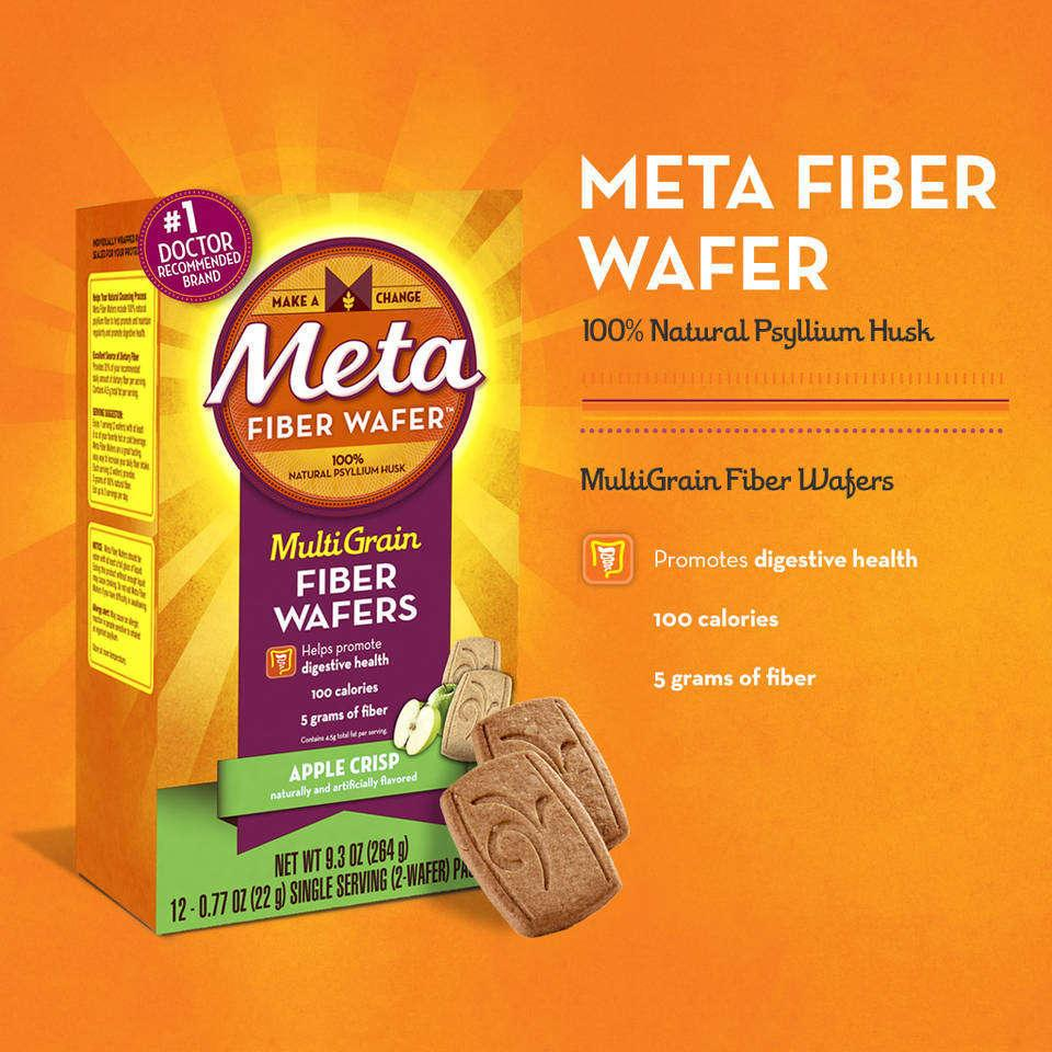 Amazon.com: Metamucil Apple Crisp Fiber Wafers 12 Count, 9.3 Oz Box ...