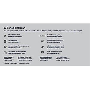 Sony NWZW273 W Series Waterproof Sports MP3 Player Specifications