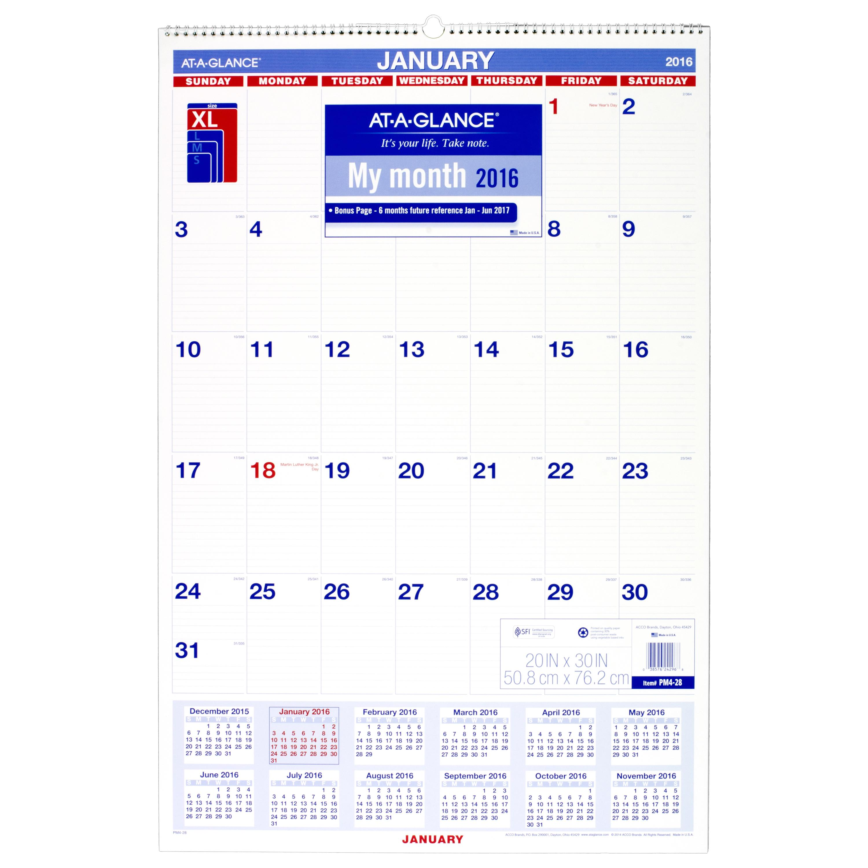 Calendar At A Glance : January start calendar month hanging