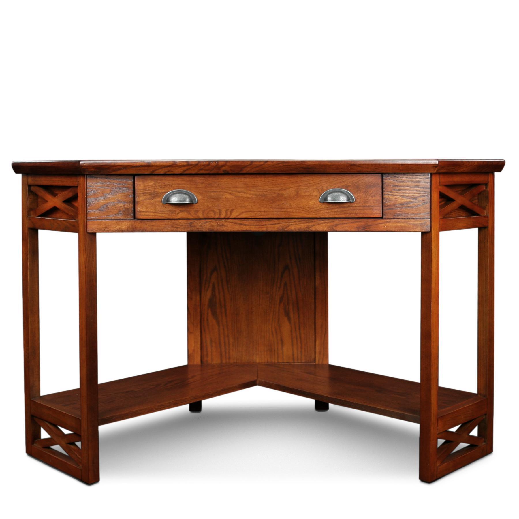 Amazon Com Leick Corner Computer And Writing Desk Oak