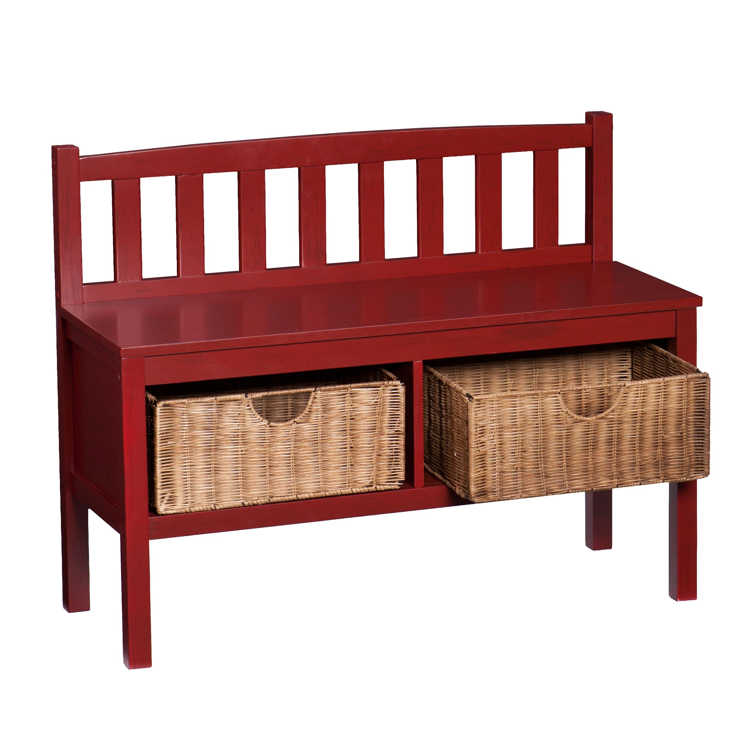 Southern enterprises collins bench with storage baskets solid red Bench with baskets