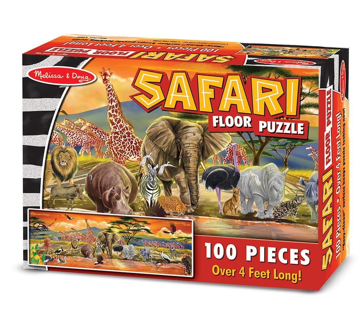 Amazon Com Melissa Amp Doug Safari Floor Puzzle 100 Pcs