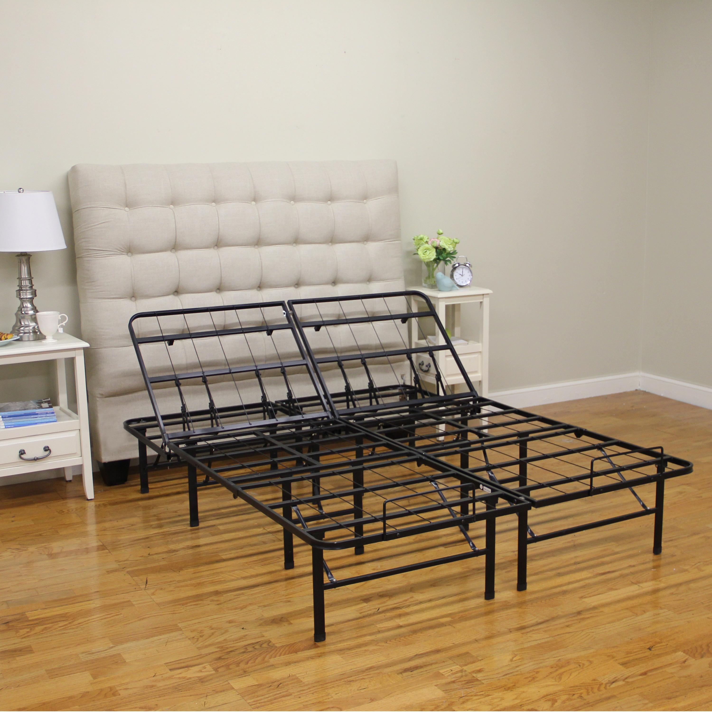 classic brands adjustable heavy duty metal bed frame mattress foundation or box. Black Bedroom Furniture Sets. Home Design Ideas