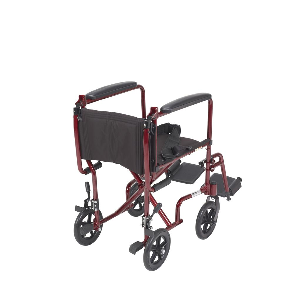 Drive medical aluminum transport chair 19 quot red