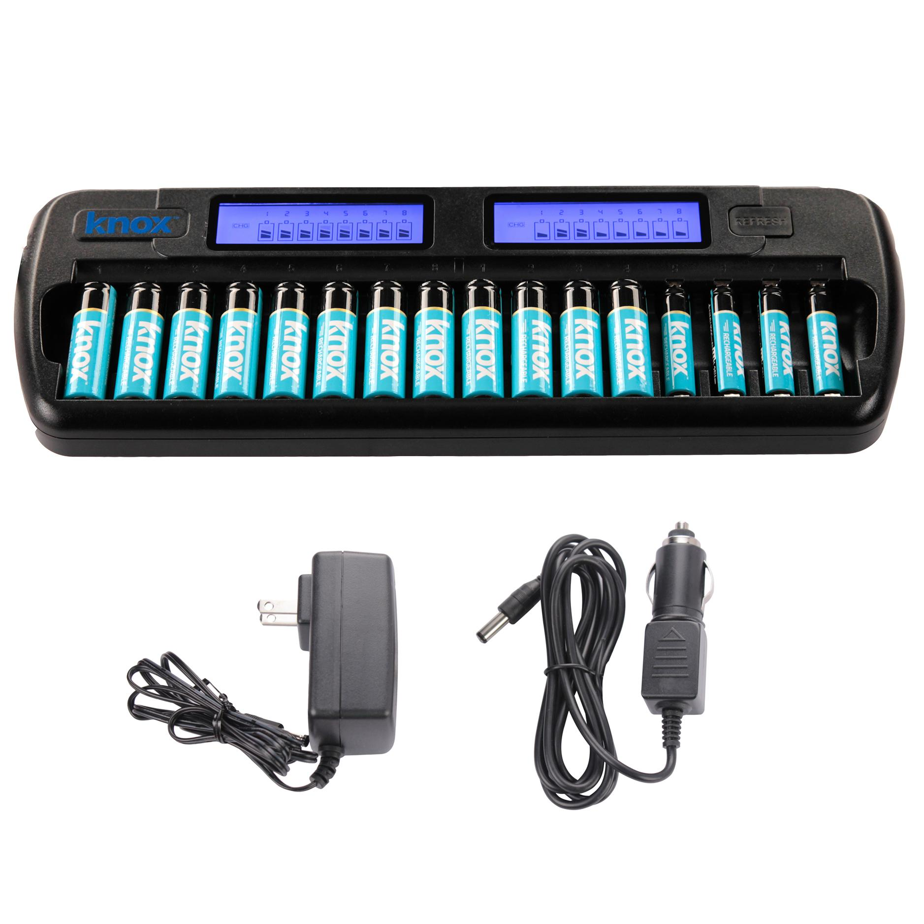knox 16 bay rapid ni mh aa aaa battery charger with 12 aa 4 aaa batteries electronics. Black Bedroom Furniture Sets. Home Design Ideas