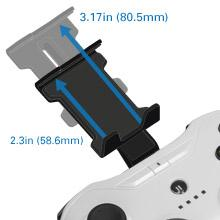 An adjustable travel clip can affix an iOS device directly atop the controller