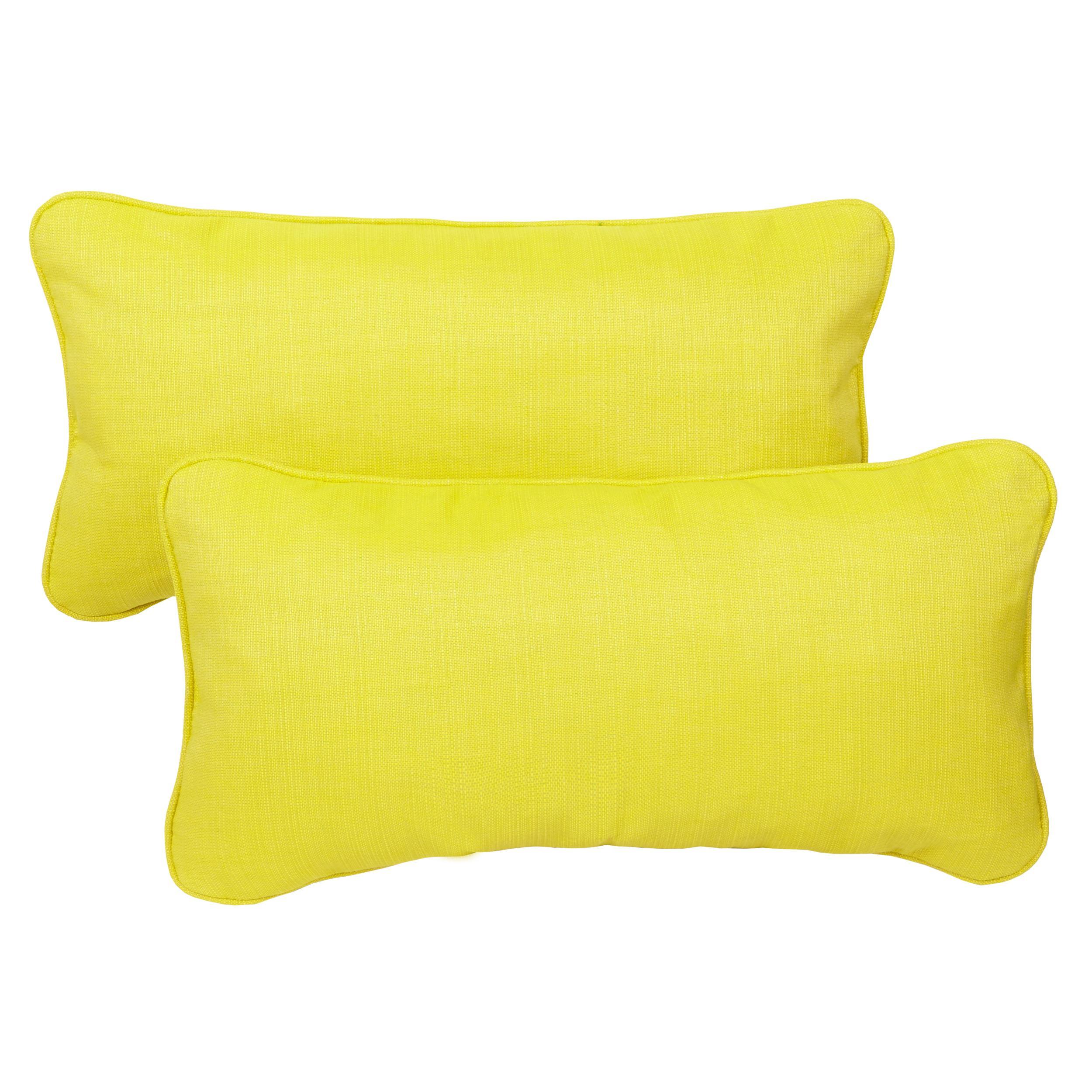Outdoor Throw Pillows Yellow : Amazon.com : Mozaic Corded Indoor/Outdoor Lumbar Throw Pillows, 12 by 24-Inch, Yellow/Green, Set ...