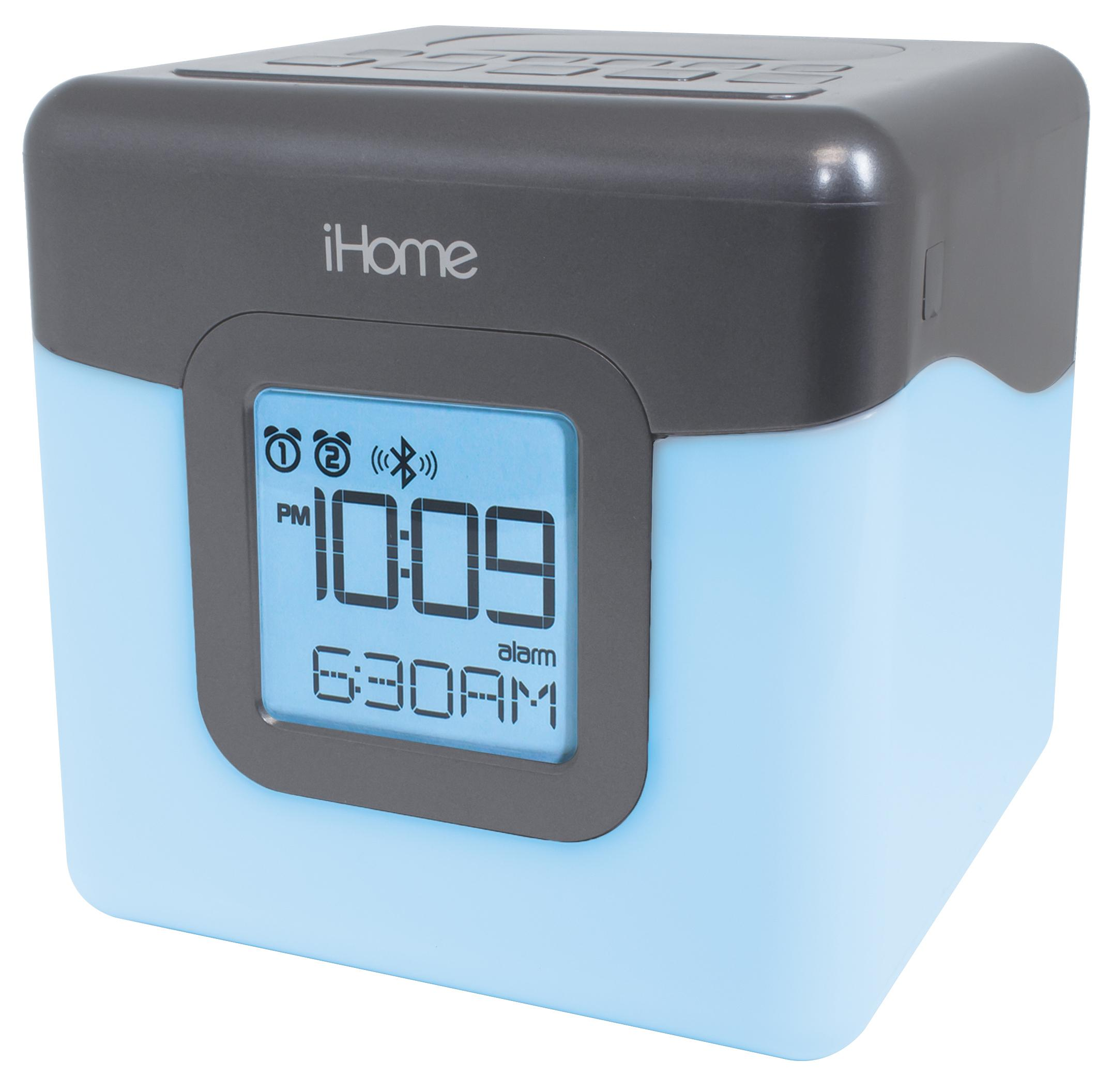 ihome ibt28gc bluetooth color changing dual alarm clock fm radio with usb charging. Black Bedroom Furniture Sets. Home Design Ideas