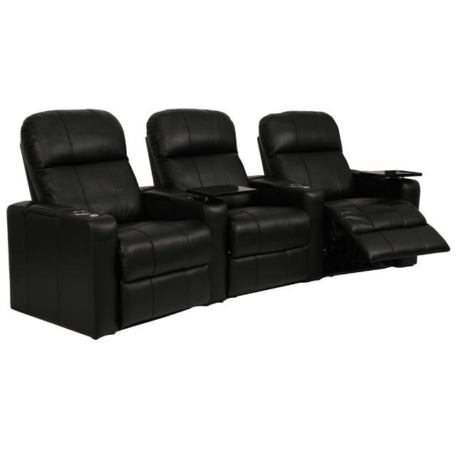 Seatcraft venetian collection home theater seating with power recline row of 3 Home theater furniture amazon