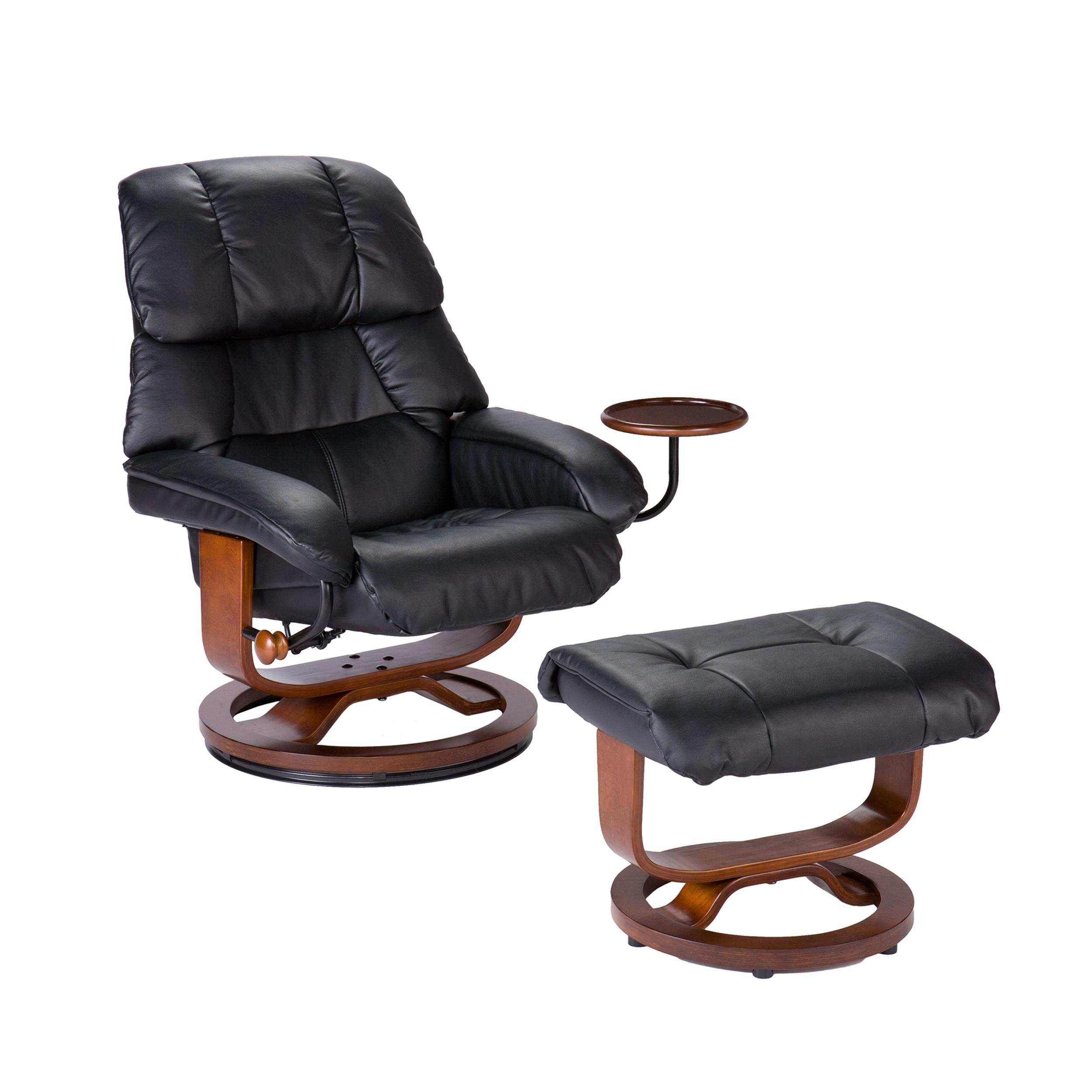 high back leather recliner and ottoman in black