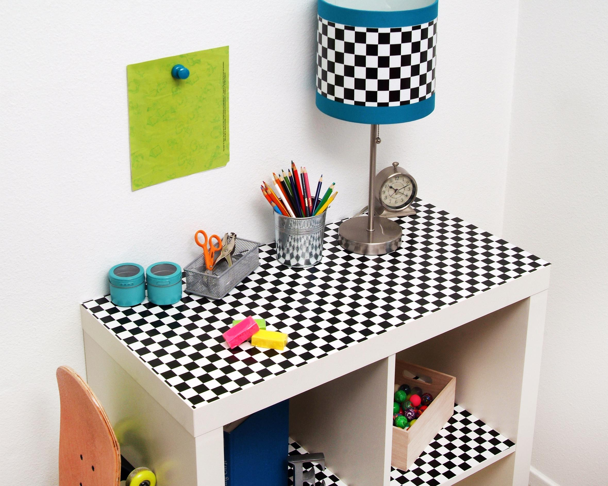 adhesive shelf paper Multipurpose adhesive drawer/shelf liner - faux black leather decorative adhesive liner with grid lined paper backing which is easy to cut, peel and apply.