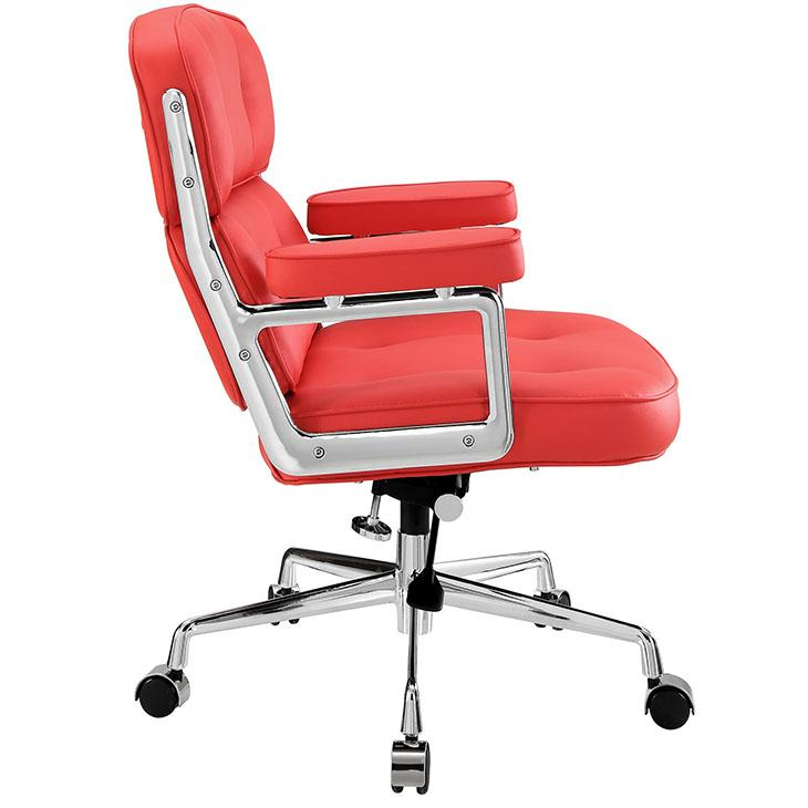 LexMod Remix Deluxe Vinyl Executive Office Chair Red Kitchen A