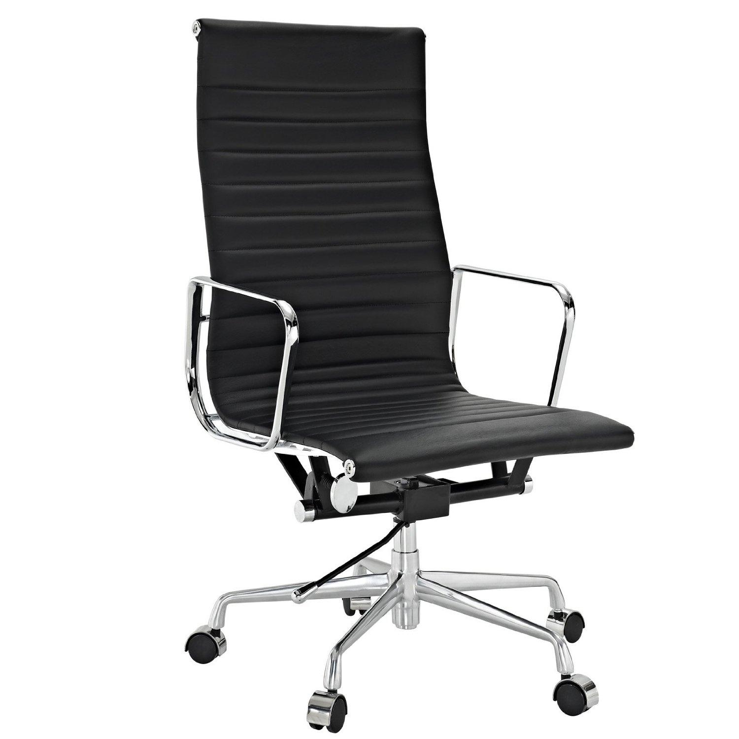 Lexmod ribbed high back office chair in white for Modern leather office chairs