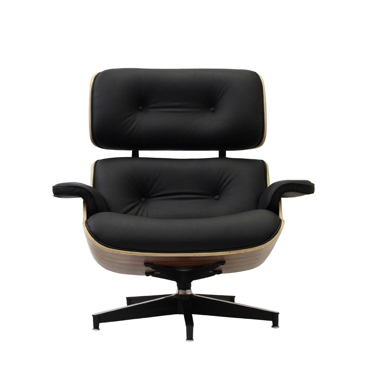 Eaze lounge chair in black leather and for Amazon chaise longue