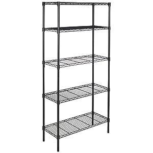 5 tier shelf storage rack wire shelving unit pantry holder