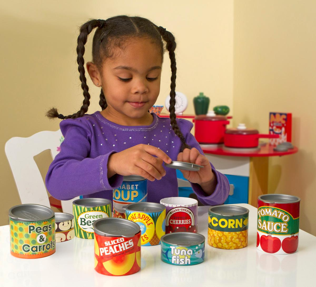 Melissa doug let 39 s play house grocery cans for Best kitchen set for 4 year old