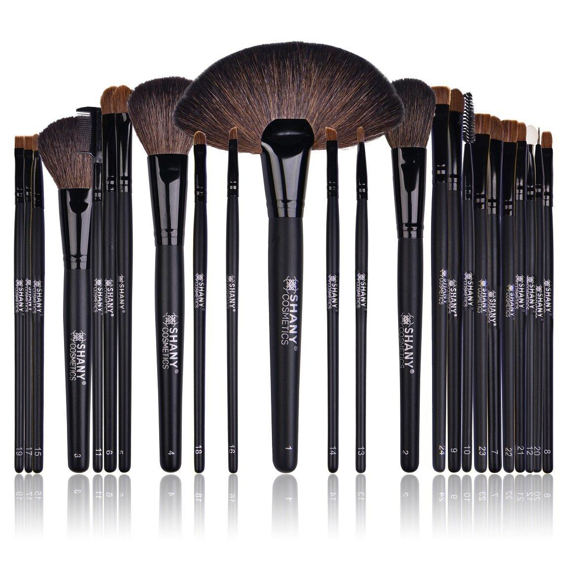 ... Brush Set with Leather Pouch, 24 Count : Makeup Brush Sets : Beauty