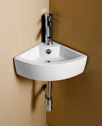Elite sinks ec9808 porcelain wall mounted corner sink - Small corner bathroom sinks ...