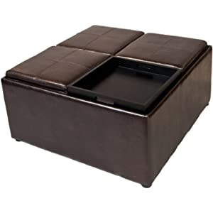 Simpli Home Avalon Coffee Table Storage Ottoman W 4 Serving Trays Pu Leather Brown