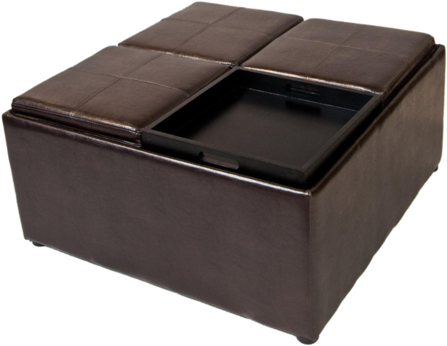 Coffee Table Storage Ottoman W 4 Serving Trays PU Leather Brown