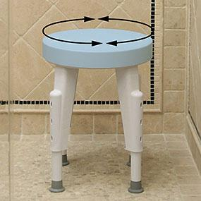 rotating shower stool, shower stool with adjustable legs, non-slip shower stool, shower safety