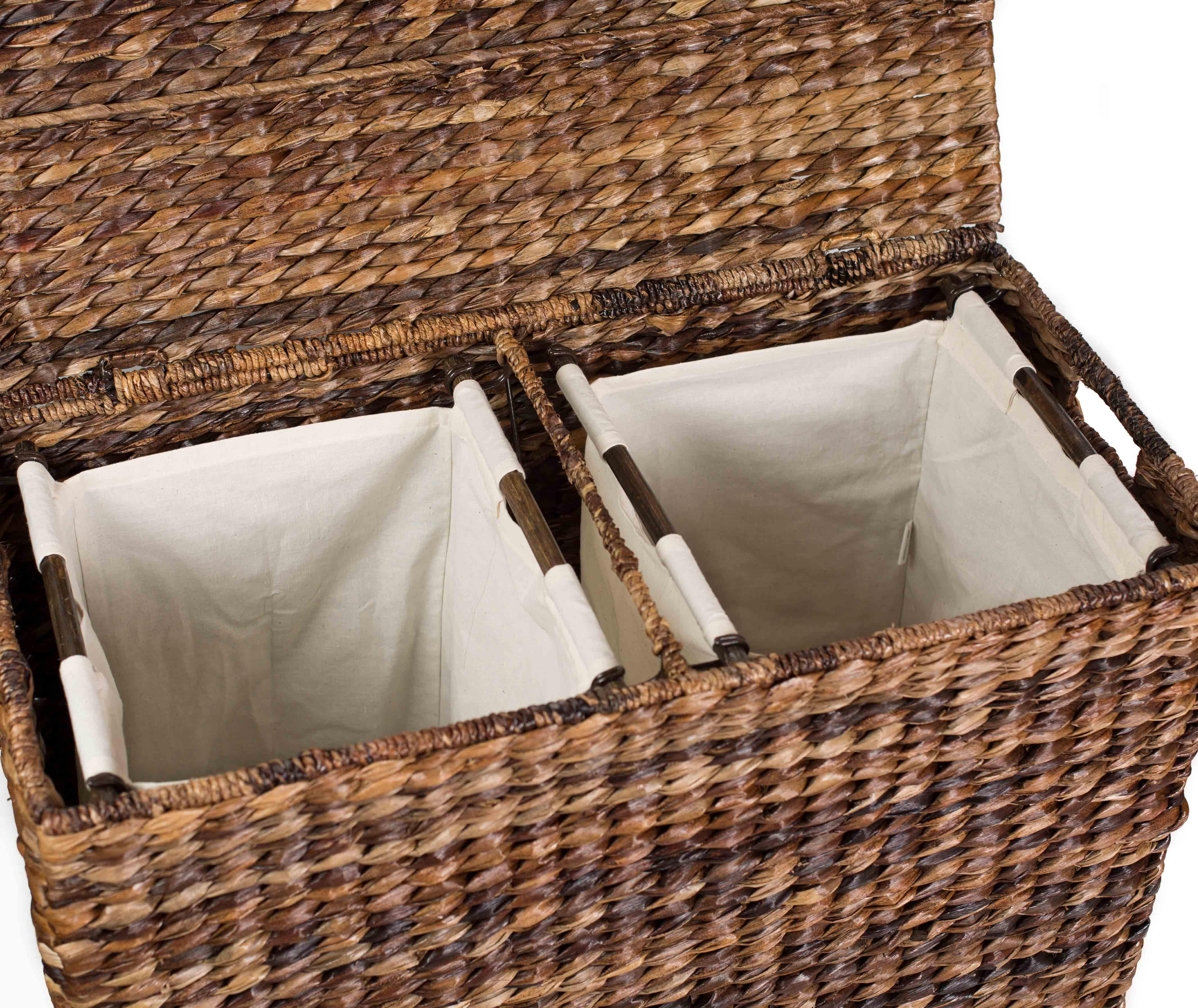 Sofia sam oversized divided hamper with liners espresso - Wicker laundry basket with liner and lid ...