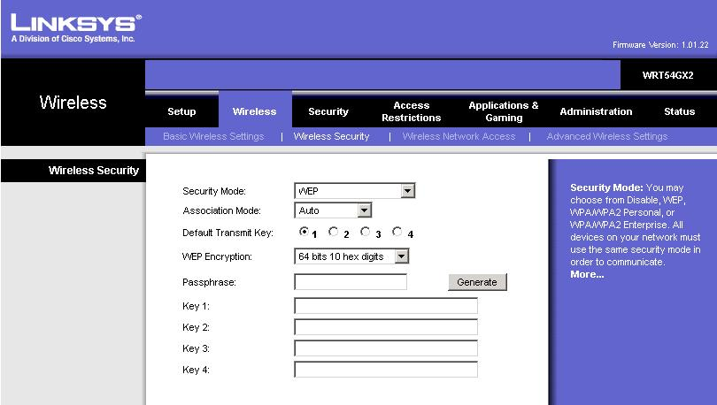 Linksys Router Passwords