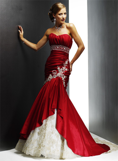 Elegant Red Wedding Dresses 2009