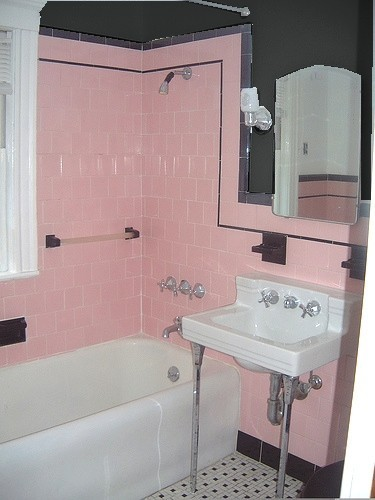 Vintage pink bathroom on pinterest pink bathrooms pink for Bathroom ideas amazon