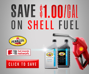 save $1 per gallon on Shell Fuel with purchase of 5 quarts of qualifying Pennzoil full synthetic motor oils
