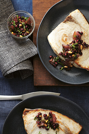 Broiled Swordfish with Pomegranate-Mint Agrodolce