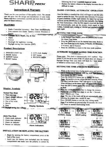 Sharp Atomic Clock Manual Spc378 Sharp Atomic Clock Instructions And