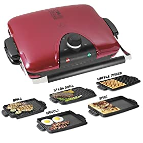 George Foreman GRP90WGR Next Grilleration Removable-Plate Grill with 5 Plates, Red at Amazon.com