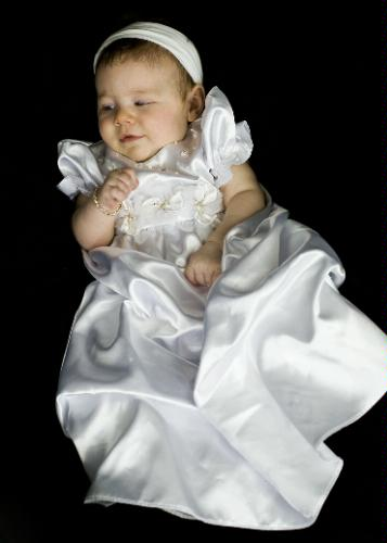 Satin Puffed Skirt Christening Baptism Gown
