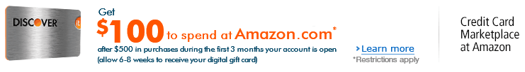 Get $100 to spend at Amazon.com after you get the Discover it chrome card and spend $500 in purchases during the first 3 months of your account is open (allow 6-8 weeks to receive your digital gift card)